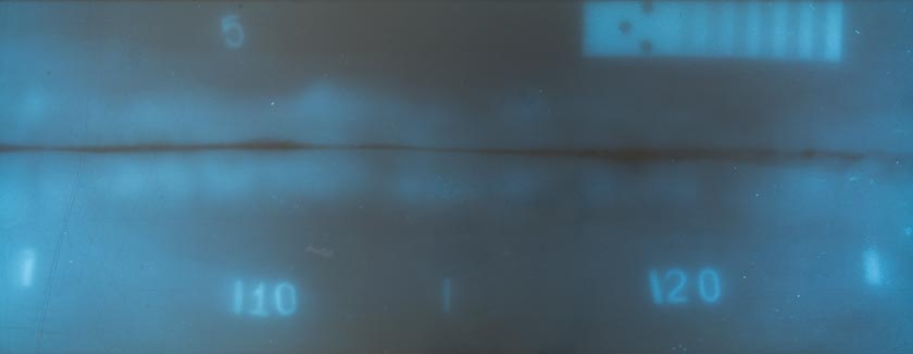 Просвечивание через две стенки (суммарная толщина 70, материал - сталь, плёнка F8 с экраном NPT, экспозиция 4000 импульсов)