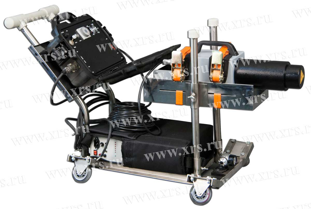 Приспособление в виде тележки с кронштейнами для проведения панорамной съёмки внутри трубопровода рентгеновским аппаратом АРИНА - СПРУТ-1ТП
